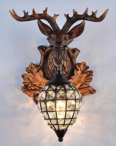 Xiao Fan ▶ * Deer Heads Vintage Style Resin Wandleuchte 1 Licht, ländliche Landschaft Wandleuchte für Wohnzimmer, Bar, Cafe Barn Warehouse ◀