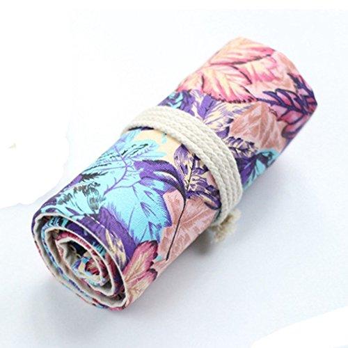 SIPLIV Leinwand Roll-up Bleistift Wrap, Reisen Zeichnung Färbung Bleistifte Tasche für Künstler, lila Ahorn Blatt Stil 48 Löcher (Bleistifte sind nicht enthalten)