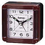 Hama Reise Wecker A30 (Analoger Wecker, Selbstleuchtender Minuten-und Stundenzeiger) dunkelrot