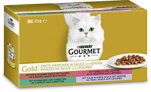 Purina GOURMET Gold Zarte Häppchen in Sauce, Katzennassfutter, für anspruchsvolle Katzen, Tiernahrung / Nassfutter, Dose (Kaninchen Frische Fleisch)