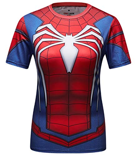 076d1d73ebd Cody Lundin Camisas de Fitness para Mujer Manga Corta Ajustada T-Shirt para  Damas Spider