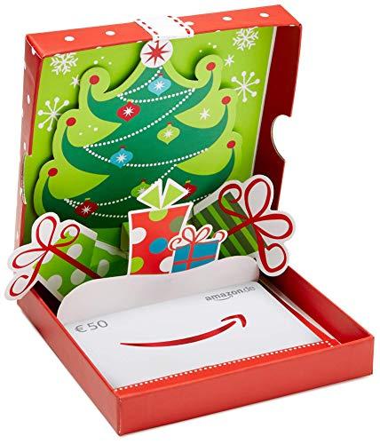 Amazon.de Geschenkkarte in Geschenkbox - 50 EUR (Geschenke mit Weihnachtsbaum)