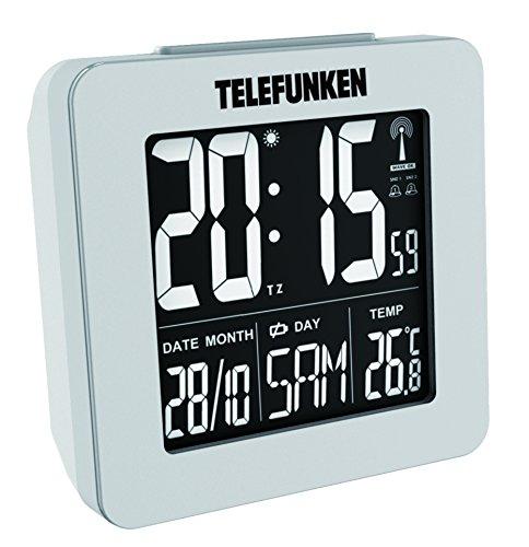 Wecker Funkwecker digital LCD Negativ-Display kein Batterieverbrauch bei Nutzung mit USB-Kabel mit ext. Stromversorgung Temperaturanzeige Kalender autom. Zeitumstellung weiß Telefunken FUX-260-HRB (W)