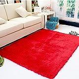 Antideslizante Salón Suave Alfombras Shaggy Floor Mat Área Alfombra 80 x 120 cm (Rojo)