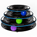 Amazing Cat Roller Toys By Easyology Pets: Super Fun 3-Level Tower Ball & Track Toy Endless Interactive Play Mental Physical Exercise For Kittens Heavy Duty Lightweight Construction In Black/White