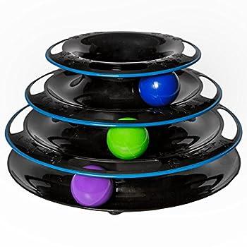 Easyology Pets Incroyable jouet Roller pour chats : Jouet à tour et circuit pour balles à 3 niveaux super amusant Jeu interactif infini Noir
