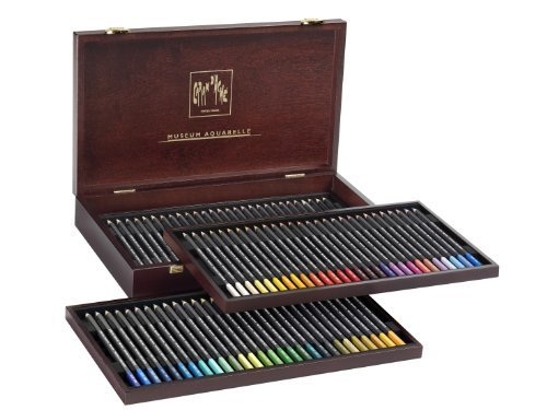 Caran Dache : Museum Aquarelle Wooden Box 76 assorted colours Discount