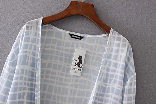 Internet Damen Floral Print Chiffon locker Schal Cardigan Bluse Grau