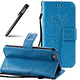 BtDuck iPhone 6S Plus Hülle Blau,PU Leder Stand Tasche Katze Muster Schutzhülle mit Standfunktion Kredit Kartenfächer Magnetverschluss Briefcase Damen Flip Cover Handyhülle iPhone 6S Plus/6 Plus
