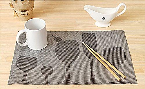 Bliss Set de Table PVC Mode Table de Salle à Manger Tapis de Bol Pad Dessous-de-Verre Lavable Nappe Pad antidérapant Pad (Lot de 4)