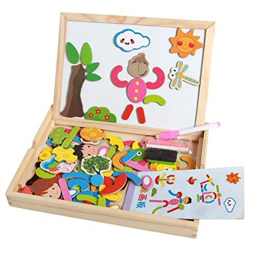 Qys Magnetische Puzzles Pädagogische Holzspielzeug Kühlschrank Aufkleber für Kinder 3 4 5 Jahre alt doppelseitige Zeichnung und Schreibtafel mit Stift,Animals -
