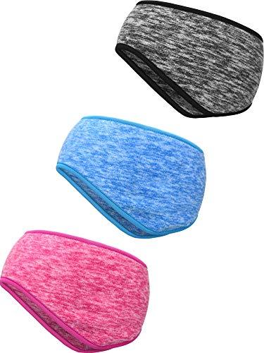 3 pezzi fascia calda dell'orecchio fascia copricapo a copertura totale sport fascia per capelli per fitness sportiva per uso esterno (grigio, blu cielo, rosa rossa)