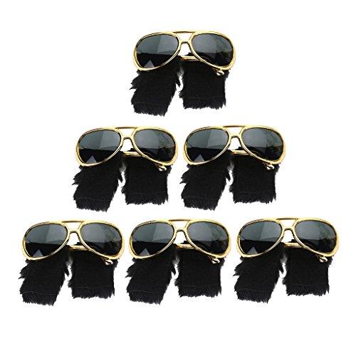Set 6pcs Gafas Sol Barba 70s Presley Lentejuela Ropa