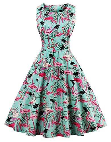 FAIRY COUPLE 50s Retro Blumen Cocktail Schwingen Party Kleid mit Bogen DRT017(XL,Flamingoblumen) (Anlass Besonderen Urlaub)