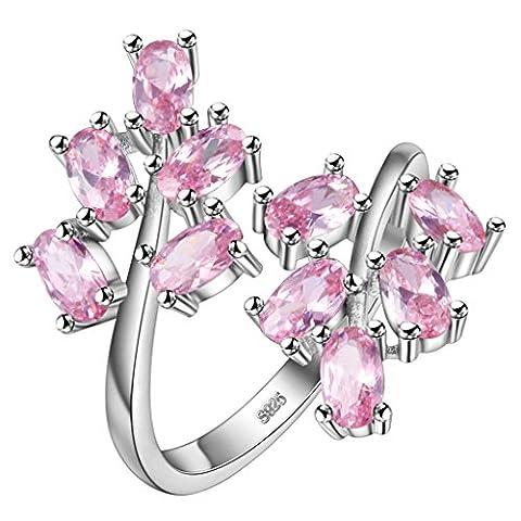 Hmilydyk Bague plaqué argent sterling S925 pour femme Anneaux réglables cristal ovale Cut Rose Blanc Sapphire Pierre précieuse