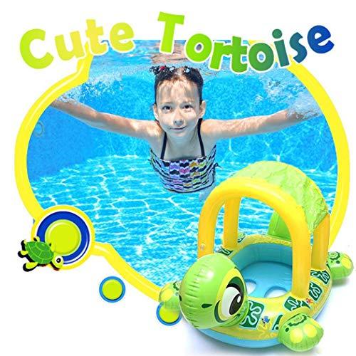 MelysEU Baby Sonnenschutz Schwimmring Schildkröten Form aufblasbarer Sitzring Schwimmhilfen