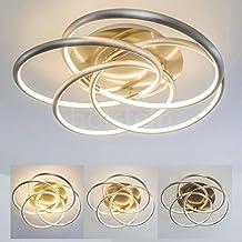 Élégant plafonnier rond - Plafonnier à anneaux entrelacés - fantaisie florale - Lampe de salon avec lumière blanche chaude - Intensité lumineuse réglable - variateur