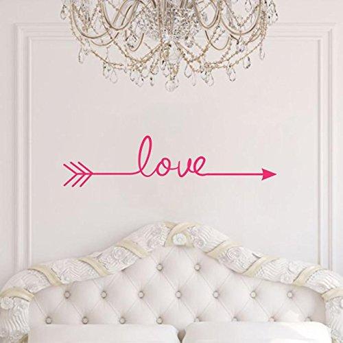 Saingace Wandaufkleber Wandtattoo Wandsticker,Liebe Pfeil Aufkleber Wohnzimmer Schlafzimmer Vinyl Schnitzen Wandtattoo für Hauptdekoration (Hot Pink) (Prinzessin Material Für Raum)