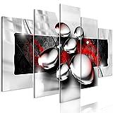 decomonkey | Bilder Abstrakt Rot 200x100 cm | 5 Teilig | Leinwandbilder | Bilder | Vlies Leinwand | Bilder | Wand | Bild auf Leinwand | Wandbild | Kunstdruck | Wanddeko | Modern Kugel Grau Schwarz
