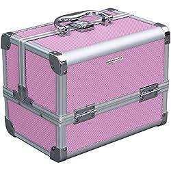 Songmics Maletín para Maquillaje 3 Niveles Estuche de Cosméticos con Espejo Marco de Aluminio ABS en Rosa 24 x 17 x 19 cm JBC316P