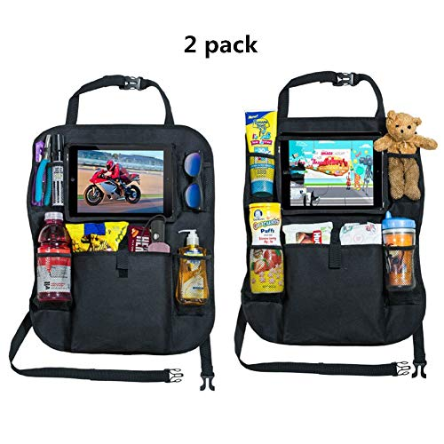 omufipw 2pcs Auto Rücksitz Organizer wasserdicht Kids Kick Mats Protektoren mit Multi Pockets Tablet Holder