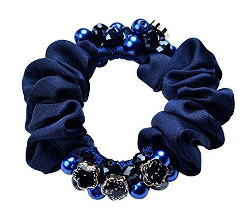Style rétro Chouchou Elastics Ponytail Holder corde de cheveux / Ties Bleu foncé