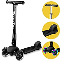 Banne 3 Wheel scooter, Height Adjustable Foldable Assemble Free Smooth Riding Lean to Steer Kick Scooter With Flashing PU Wheel