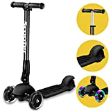 Scooter,Banne Height Adjustable Foldable Assemble Free Smooth Riding Lean to Steer Kick Scooter With Flashing PU Wheel Supports 176 lb Weight(Black) (Black)