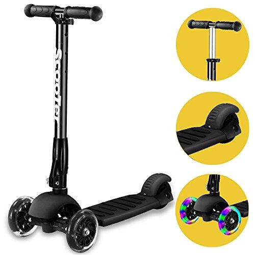 Banne Scooter, Altezza Regolabile Pieghevole Lean a Guidare Lampeggiante Ruote in PU 3 Wheel Kick Scooter per Bambini (Nero)
