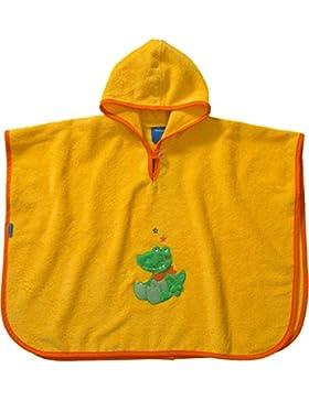 Morgenstern, hochwertiger Frottee - Bade - Poncho aus 100 % Baumwolle, Farbe gelb, Motiv Krokodil, Größe one size...