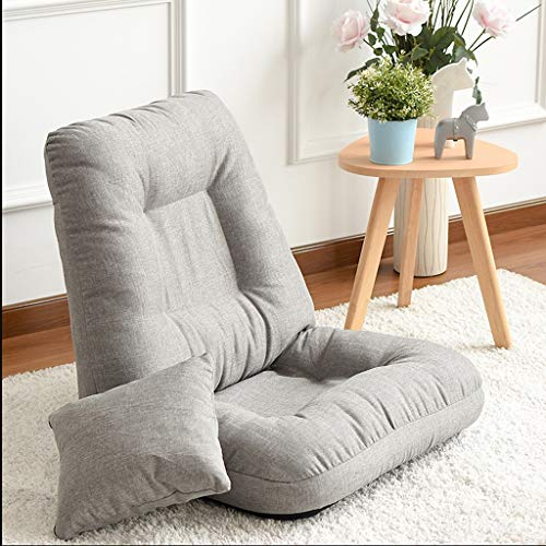 ZLJ Baumwolle Leinen Bett Lazy Sofa Single bequemes Schlafzimmer Legless Computer Tatami zurück Folding Window Chair -3 Farbe Optional (Color : Gray) - Kinder-foam-schlafsofa