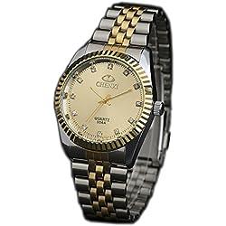 ufengke® luxury shining rhinestone nice gold steel band waterproof watch for men- gold