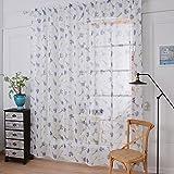 1er HongYa Lila Lavendel Muster Gadine Schlafzimmer Vorhang aus Baumwollgaze, BxH 145x150cm