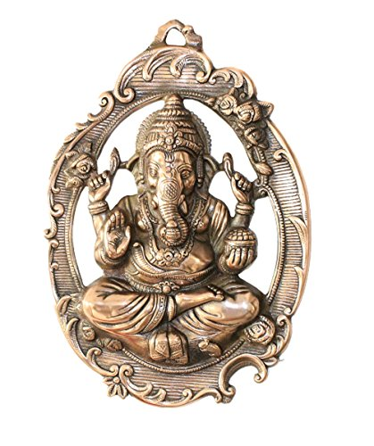 APKAMART Lord Ganesh Wall Hanging - Ganpati in Oval Plate -16 Inch - for Wall Decor and Gifts
