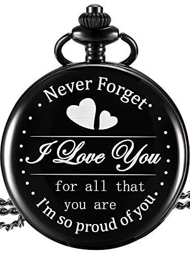 Taschenuhr Geschenk für Sohn Tochter Mom Dad Opa Oma Ehemann, Graviert Taschenuhr - I Love You for All That You Are I Am so Proud of You (Weißes Zifferblatt)