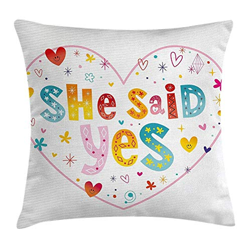 Kaixin J Engagement Party Decorations Throw Pillow Cushion Cover, Western Themed Will You Marry Me Quote with Hearts Image,Home Decor Pillow Case, 18 X 18 Inches, Black and White - Zip-front-lab