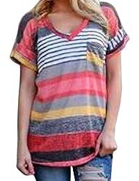 Flying Rabbit Damen Tops Sommer Buntes Gestreiftes Loose Kurzarm V-Ausschnitt Shirt Hemd Sweatshirt Große Größen Bluse T-shirt
