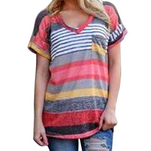 Flying Rabbit Damen Tops Sommer Buntes Gestreiftes Loose Kurzarm V-Ausschnitt Shirt Hemd Sweatshirt Große Größen Bluse T-shirt (s, Rot)