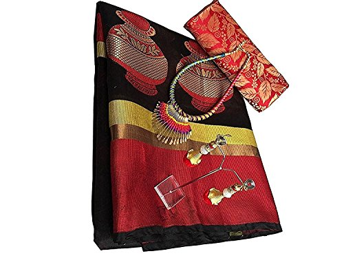 Indian Beauty Banarsi Heavy Cotton Silk Black& Red Saree With Matching Blouse...