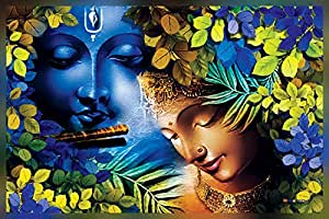 MPRO-TECH Krishna Painting UV Print Wall Canvas for Living Room and Office 135 x 90 cm
