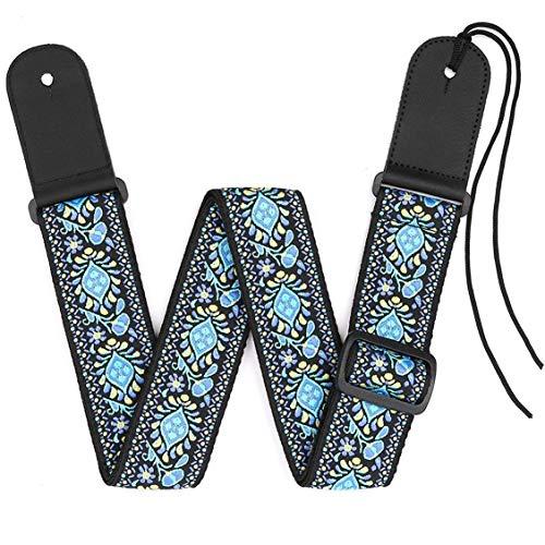 Correa de guitarra de 2 'con extremos de cuero genuino ajustables para guitarras acústicas clásicas y eléctricas, cinturón de estilo vintage