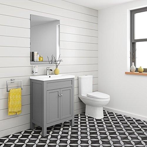 600 mm Traditional Grey Bathroom Door Vanity Unit Basin Sink + Toilet Furniture Set