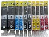 10 Druckerpatronen inkl. Chip für Canon Pixma MP540 MP540X MP550 MP560 MP620 MP620B MP630 MP640 MP980 MX860 MX870 ip3600 ip4600 ip4700 MP 540 550 560 620 630 640 980 ip 3600 3700 4700 mx 860 870 KOMPATIBEL Patronen mit Chip Kompatibel zu Canon PGI-520BK CLI-521BK CLI-521C CLI-521M CLI-521Y