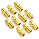 deleyCON SAT Adapter Verbinder Koaxialkabel verlängern 2X F-Buchse Vergoldet für Sat Kabel BK Anlagen - 10 Stück