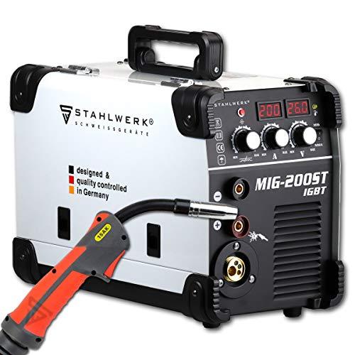 STAHLWERK MIG 200 ST IGBT - MIG MAG Schutzgas Schweißgerät mit 200 Ampere, FLUX Fülldraht geeignet, mit MMA E-Hand, weiß, 5 Jahre Herstellergarantie*