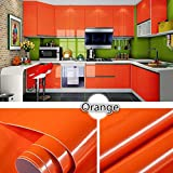 Jintime 100 * 40 cm PVC Glänzende Möbel Refurbished Aufkleber Selbstklebende Wasserdichte Küche Abnehmbare Tapeten Garderobe/Schränke Refurbished Aufkleber Wohnkultur Multi Farben (Orange)