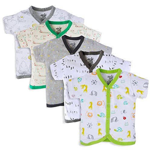 e79bba1e3589 MiniCult Set of Cotton Unisex Front Open Half Sleeve T-Shirt with ...
