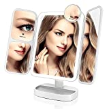 EASEHOLD Miroir Maquillage Lumineux LED Batterie Rechargeable Tri-Pli Grossissement...