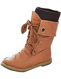 Gaorui Damen Herren Langschaft Vintage-Stiefel Ankle Boots Winterstiefel  aus PU Leder Warm Futter Gelb bce083016b