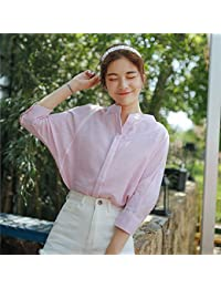 2355a6c5cf XXIN  Verano V Camiseta Cuello Alumnas Suelto Rayas Rosas Verano Camisa  Manga